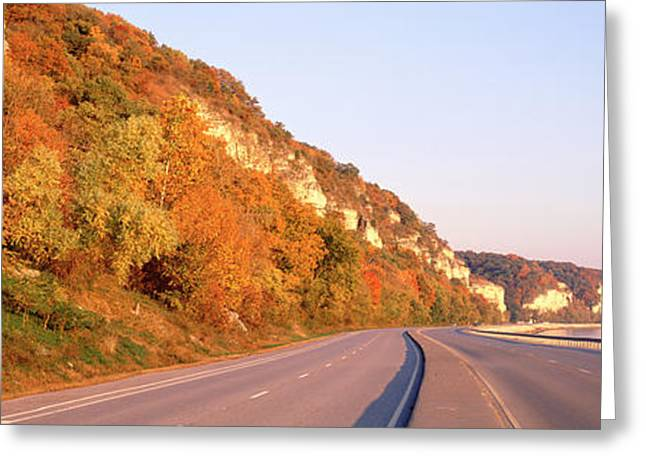 Road Along A River, Great River Road Greeting Card by Panoramic Images
