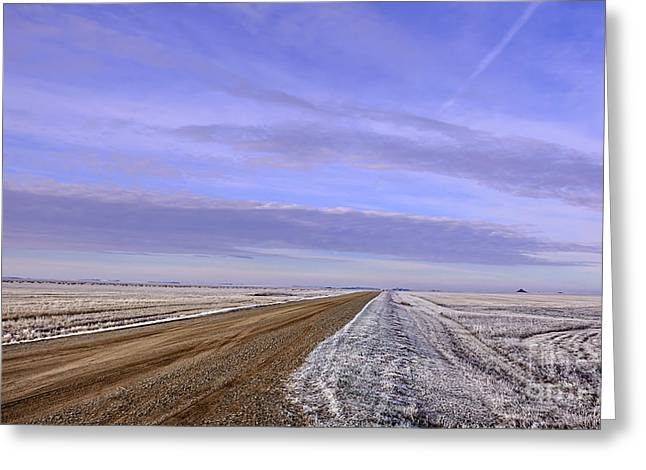 Road And Fild In Winter Time In Saskatchewan Greeting Card