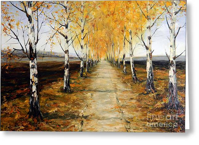 Road And Plowed Land Greeting Card by Petrica Sincu