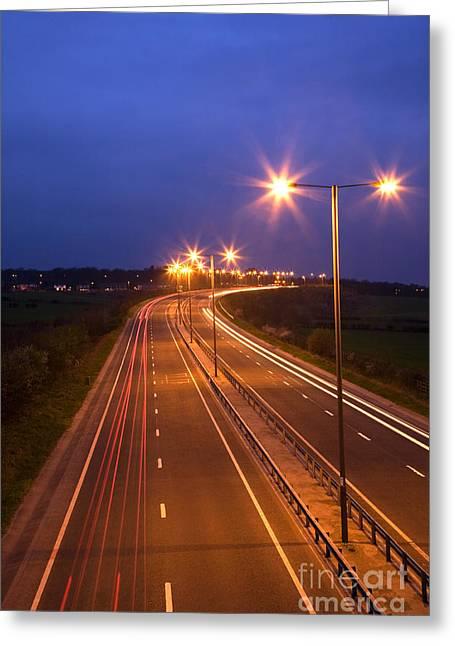 Road And Traffic At Night Greeting Card