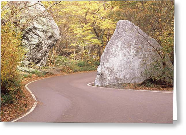 Road Curving Around A Big Boulder Greeting Card