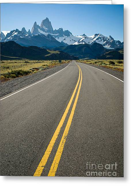 Road Leading To Fitz Roy In Patagonia Greeting Card by OUAP Photography