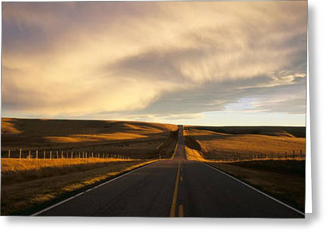Road, Montana, Usa Greeting Card by Panoramic Images