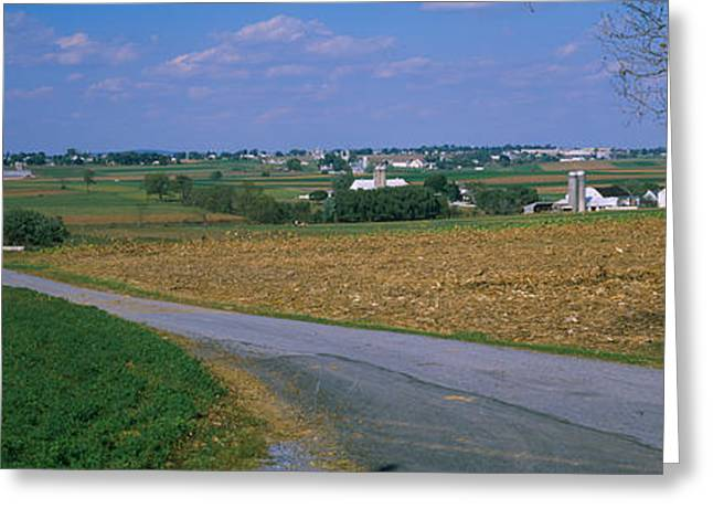 Road Passing Through A Field, Amish Greeting Card by Panoramic Images