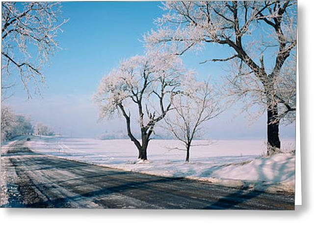 Road Passing Through Winter Fields Greeting Card