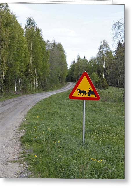 Road Sign With Carriage Greeting Card by Ulrich Kunst And Bettina Scheidulin
