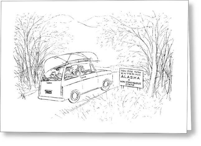 Road Sign: You Are Now Entering Alaska Greeting Card by Everett Opie