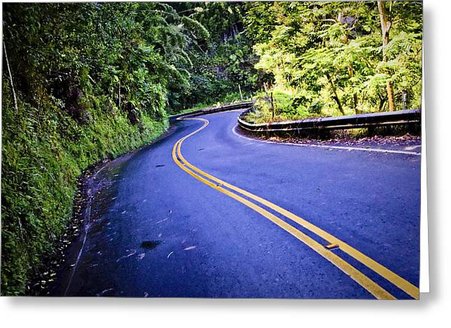 Road To Hana Greeting Card by Adam Romanowicz