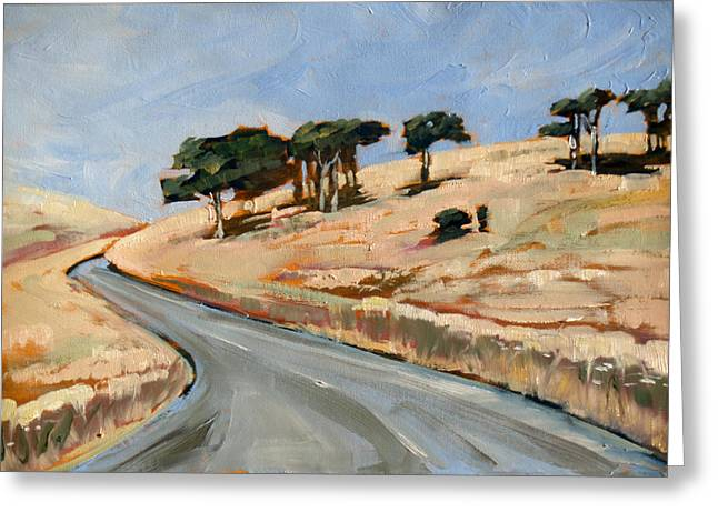 Road To Okains Bay Greeting Card by Linelle Stacey