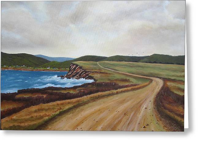 Road To Recovery Aka Cheticamp Ns Greeting Card by Sharon Steinhaus