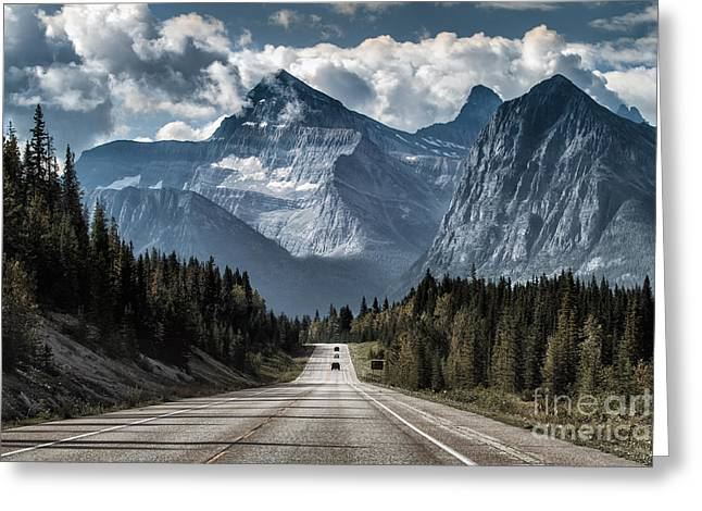 Road To The Great Mountain Greeting Card by Yanliang Tao