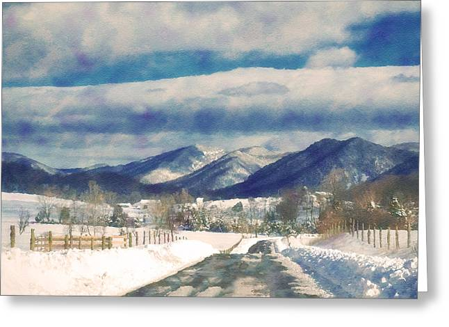 Road To The Mountains Greeting Card by Kathy Jennings