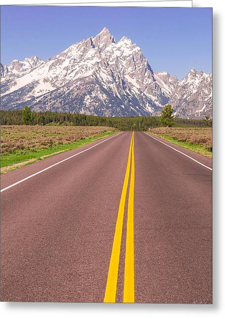 Road To The Tetons Greeting Card by Aaron Spong