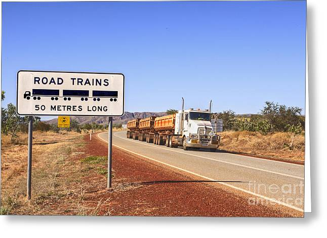 Road Train Warning Sign And Roadtrain Just Passing By Greeting Card