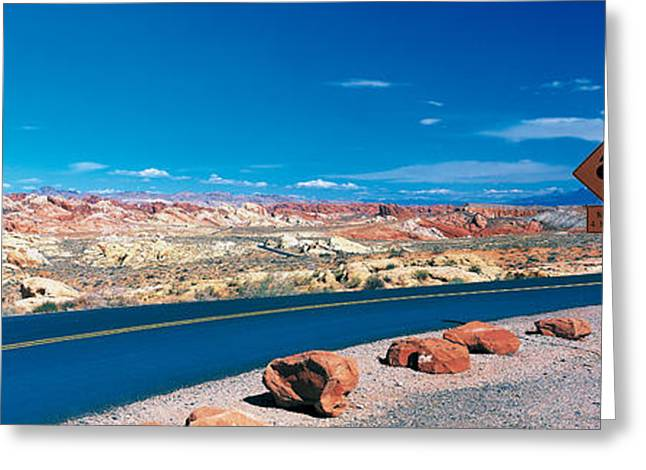 Road Valley Of Fire State Park Overton Greeting Card by Panoramic Images