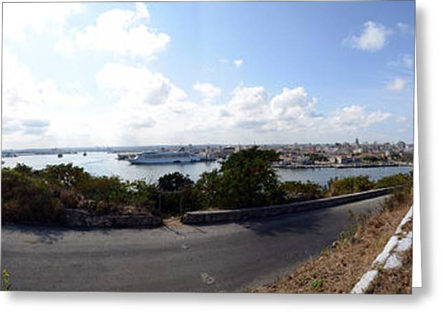 Road View With The Statue Of Jesus Greeting Card by Panoramic Images