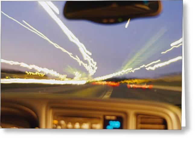 Road Viewed From A Car, Atlanta, Georgia Greeting Card