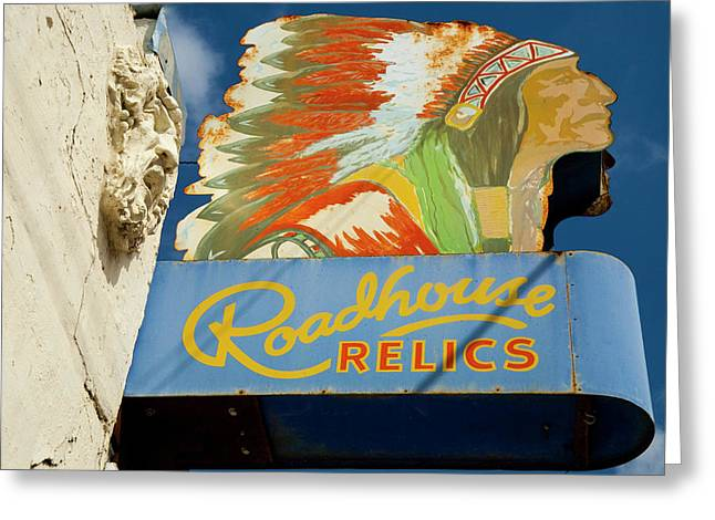 Roadhouse Relics Sign Greeting Card by Mark Weaver