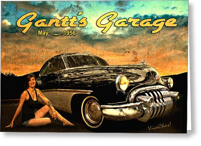 Roadmaster Betty And The Big Black Buick Greeting Card
