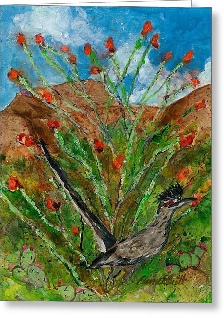 Roadrunner And Ocotillo Greeting Card