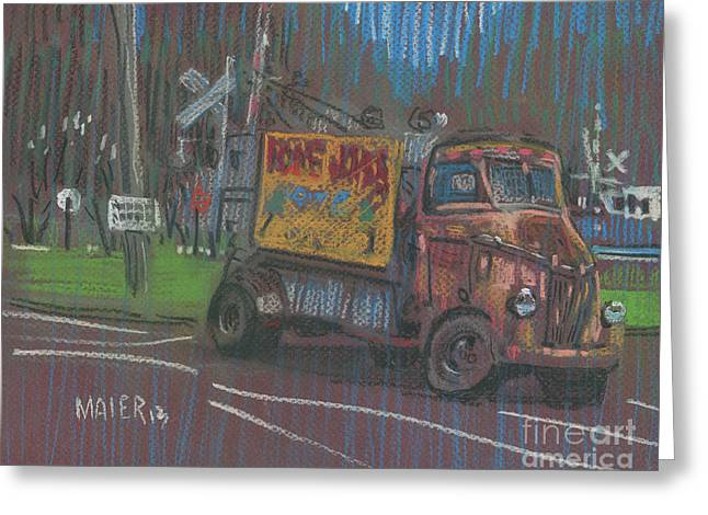 Greeting Card featuring the painting Roadside Advertising by Donald Maier