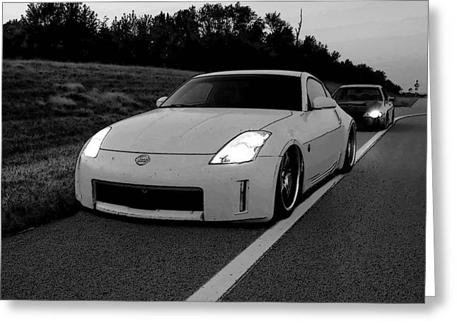 Roadside Attraction 350z Greeting Card by Rolling Art Studio
