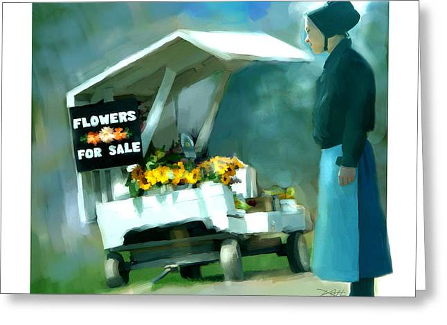 Greeting Card featuring the painting Roadside Flower Stand Alternate Version by Bob Salo