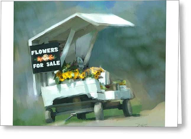 Greeting Card featuring the painting Roadside Flower Stand by Bob Salo