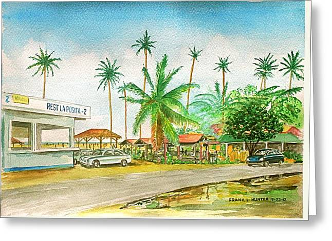 Roadside Food Stands Puerto Rico Greeting Card by Frank Hunter
