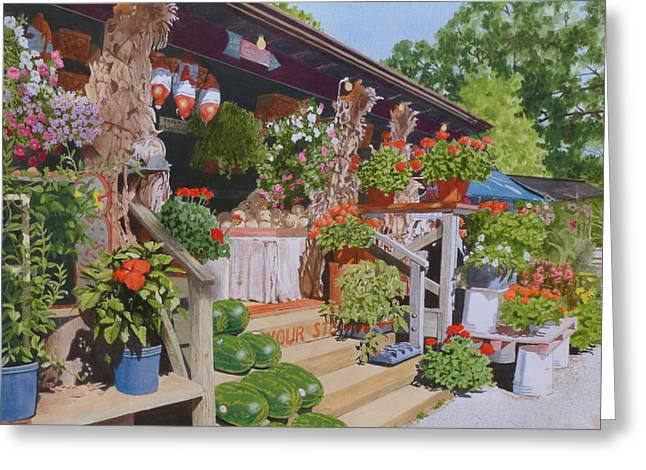 Roadside Stand Greeting Card by Constance Drescher