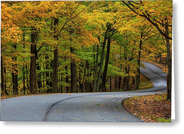 Roadway In Autumn In Brown County State Greeting Card by Chuck Haney