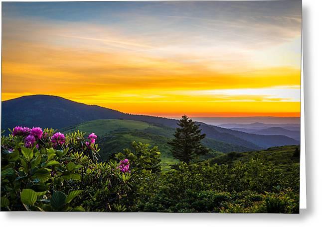 Roan Mountain Sunset Greeting Card by Serge Skiba