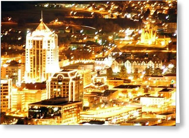Roanoke City Lights Greeting Card by Scott Ware