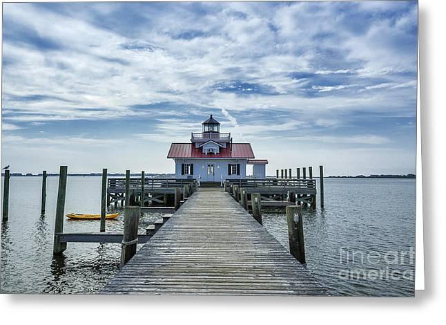 Roanoke Lighthouse Greeting Card by John Greim