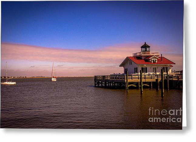 Roanoke Lighthouse Greeting Card by Tom Gari Gallery-Three-Photography