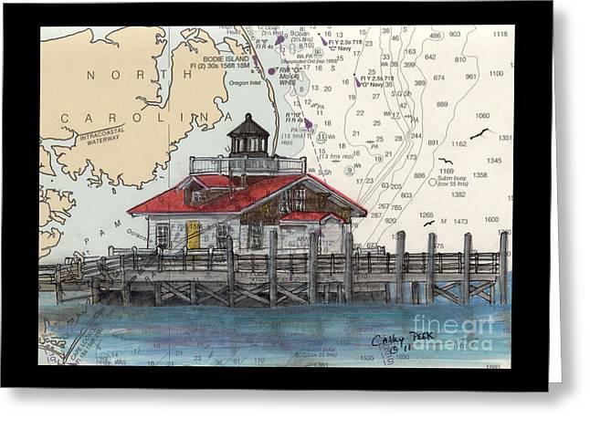 Roanoke Marsh Lighthouse Nc Cathy Peek Nautical Chart  Greeting Card