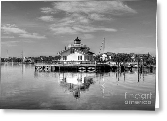 Roanoke Marshes Light 3 Bw Greeting Card by Mel Steinhauer