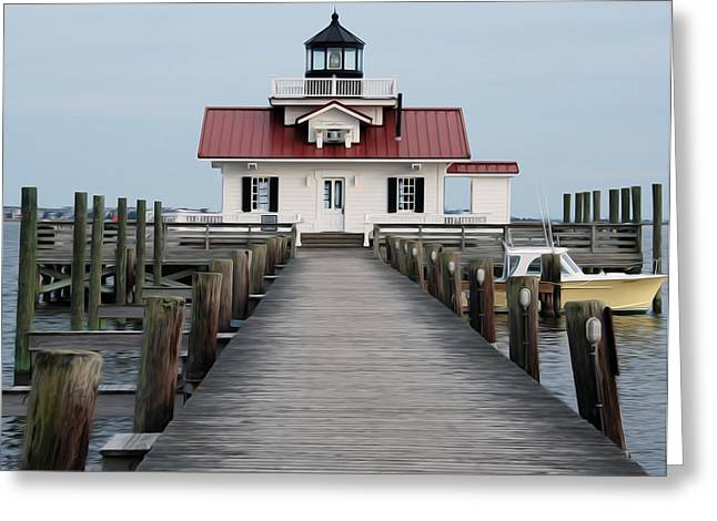 Greeting Card featuring the digital art Roanoke Marshes Lighthouse by Kelvin Booker