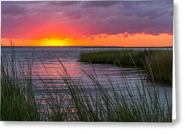 Roanoke Sound Sunset Greeting Card by Gregg Southard