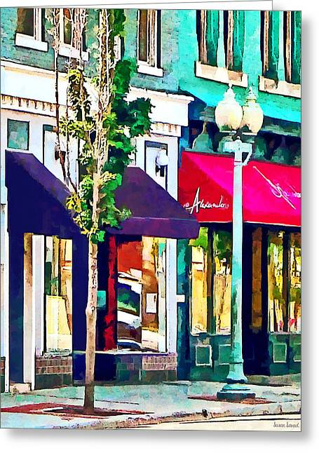Roanoke Va Street With Restaurant Greeting Card by Susan Savad