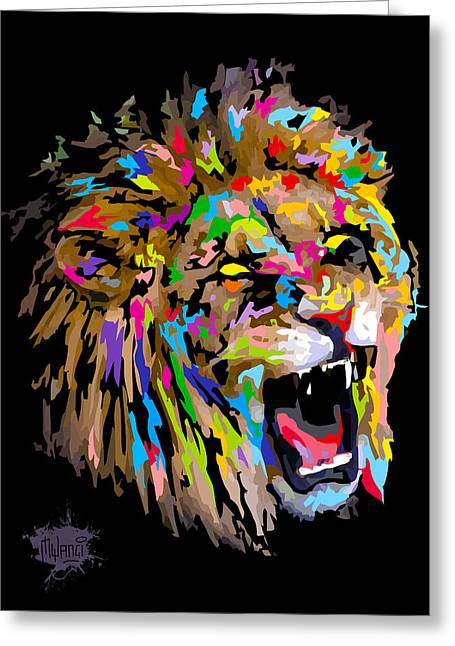 Greeting Card featuring the digital art Roar by Anthony Mwangi