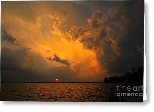 Greeting Card featuring the photograph Roar Of The Heavens by Terri Gostola
