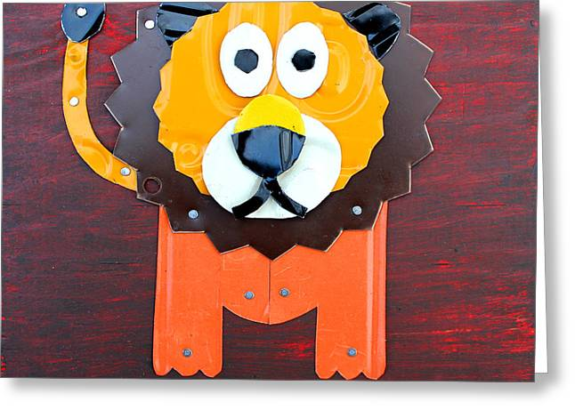 Roar The Lion License Plate Art Greeting Card by Design Turnpike