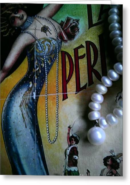 Roaring Twenties Elegance And Pearls Greeting Card