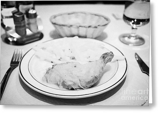 Roast Chicken And Fries Catalan Style From A Tourist Set Menu Andorra La Vella Andorra Greeting Card by Joe Fox