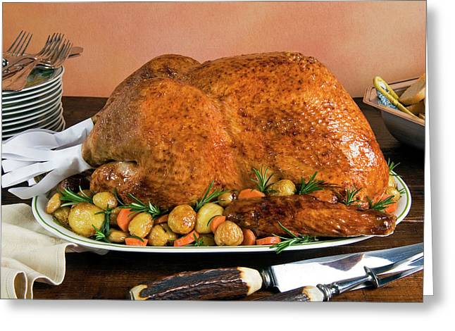 Roast Turkey With Potatoes And Chestnuts Greeting Card by Nico Tondini