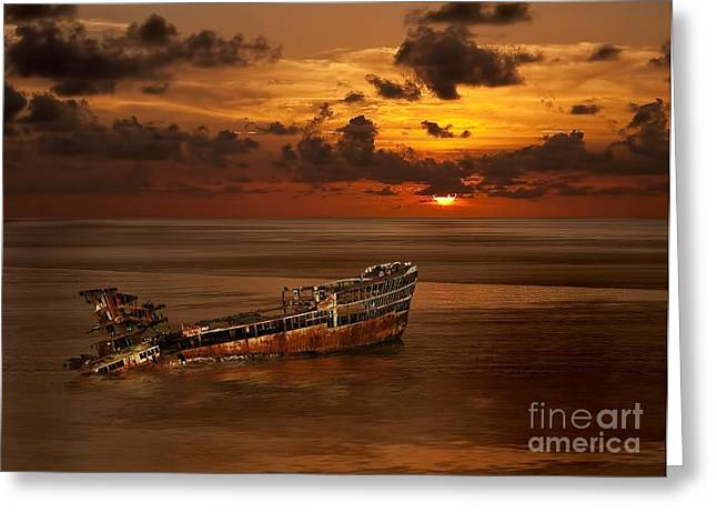 Greeting Card featuring the digital art Roatan Shipwreck by Shirley Mangini