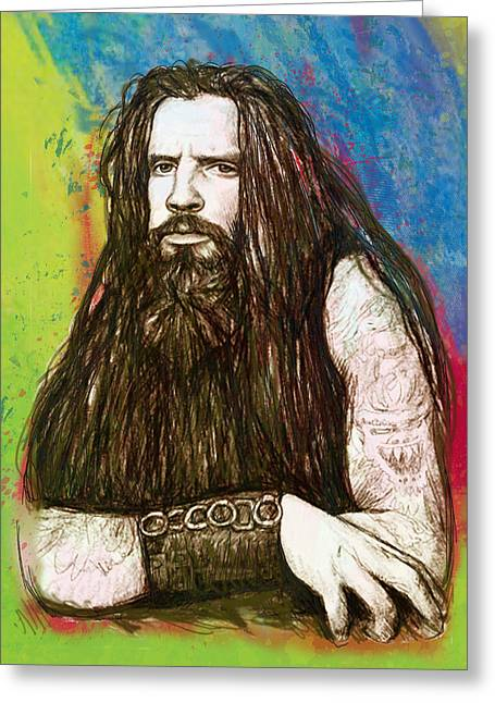 Rob Zombie Stylised Pop Art Drawing Sketch Portrait Greeting Card by Kim Wang