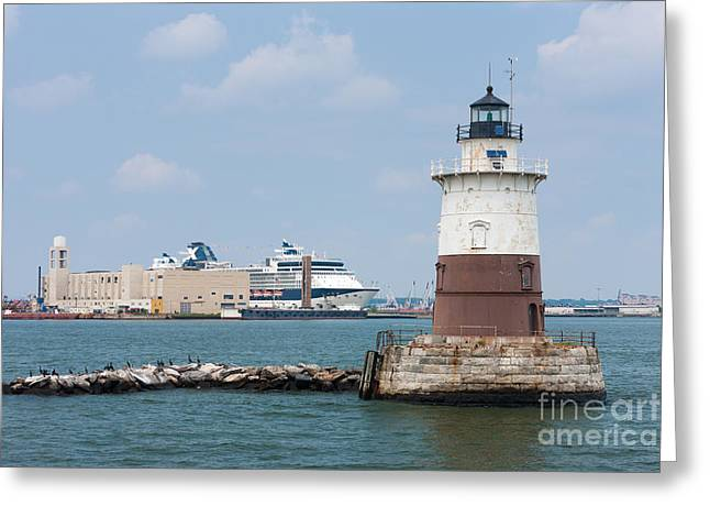 Robbins Reef Light II Greeting Card by Clarence Holmes