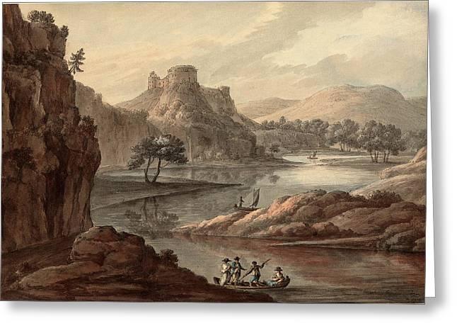 Robert Adam British, 1728 - 1792, River Landscape Greeting Card by Quint Lox